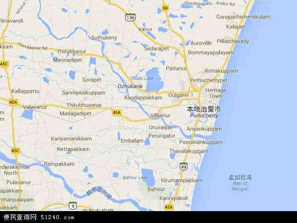 印度本地治里地图(卫星地图)