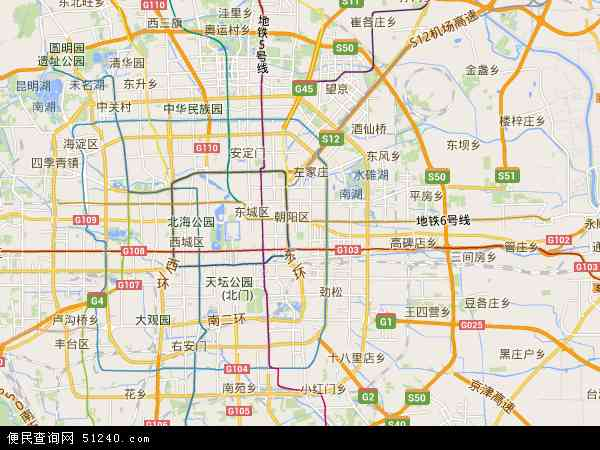 中国北京市朝阳区地图(卫星地图)