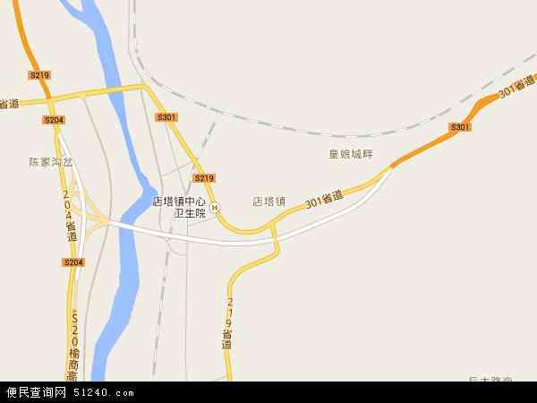 中国陕西省榆林市神木县店塔镇地图(卫星地图)