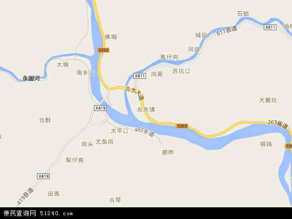 古水镇地图 - 古水镇卫星地图