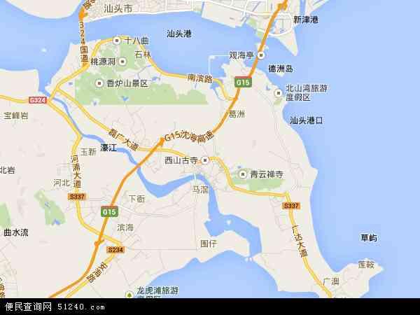 中国广东省汕头市濠江区地图(卫星地图)