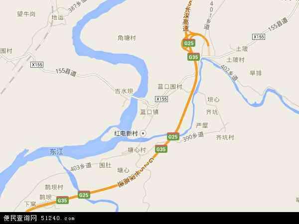 中国广东省河源市东源县蓝口镇地图(卫星地图)