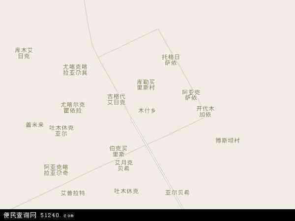 中国新疆维吾尔自治区喀什地区疏附县木什乡地图(卫星地图)