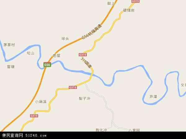 中国湖南省怀化市沅陵县麻溪铺镇地图(卫星地图)