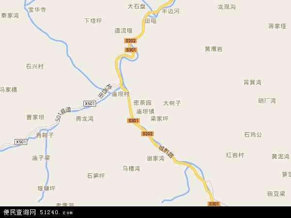 中国重庆市城口县庙坝镇地图(卫星地图)