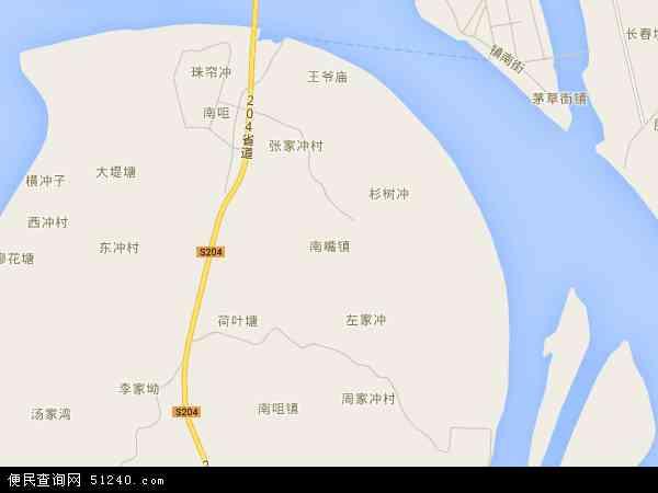 中国湖南省益阳市沅江市南嘴镇地图(卫星地图)