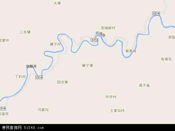 中国陕西省汉中市镇巴县碾子镇地图(卫星地图)