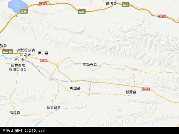 中国新疆维吾尔自治区伊犁哈萨克自治州尼勒克县地图(卫星地图)