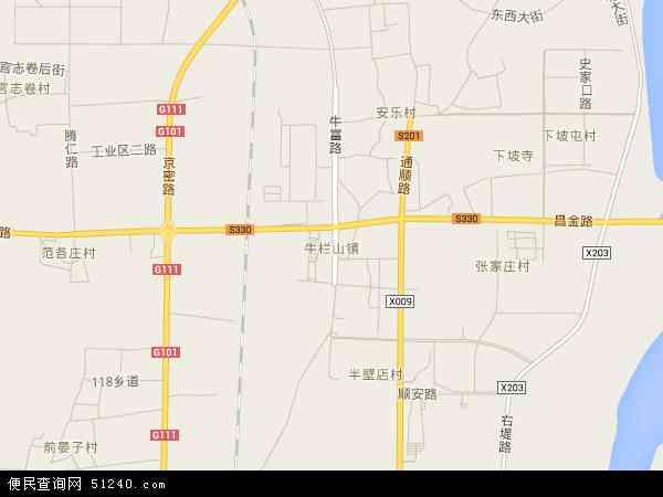 中国北京市顺义区牛栏山地图(卫星地图)