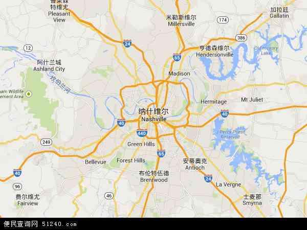 美国田纳西纳什维尔地图(卫星地图)