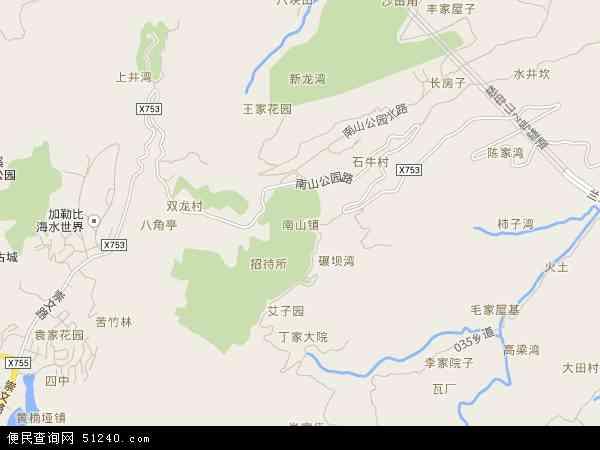 中国重庆市南岸区南山地图(卫星地图)