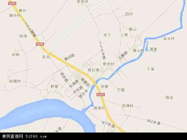 中国广东省揭阳市榕城区炮台镇地图(卫星地图)