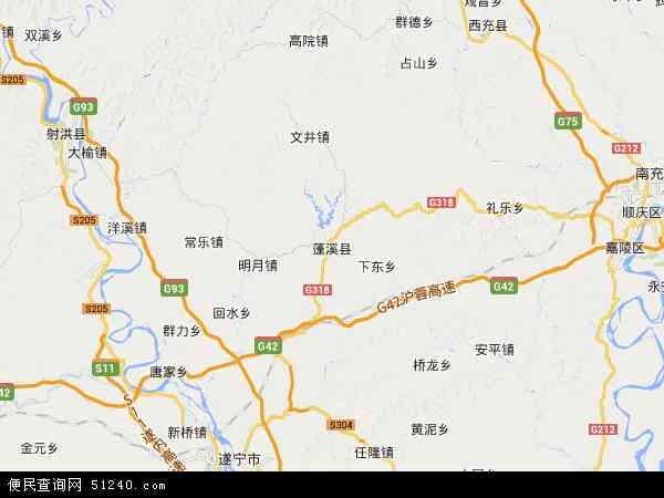 中国四川省遂宁市蓬溪县地图(卫星地图)
