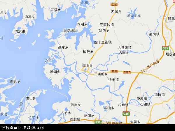 中国江西省上饶市鄱阳县地图(卫星地图)