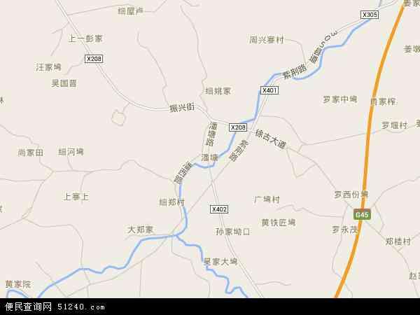 中国湖北省武汉市新洲区潘塘地图(卫星地图)