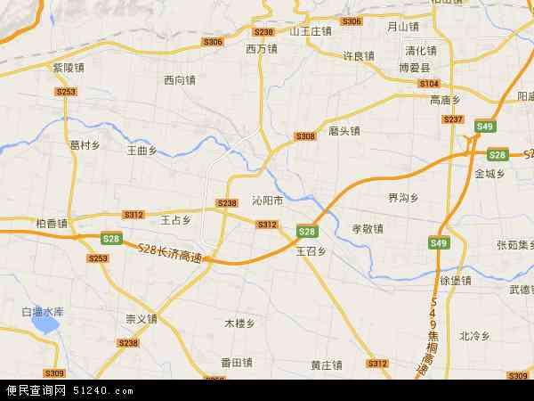 中国河南省焦作市沁阳市地图(卫星地图)