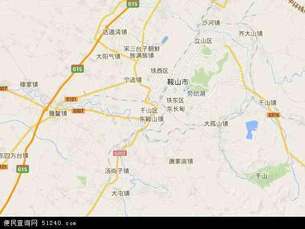 中国辽宁省鞍山市千山区地图(卫星地图)