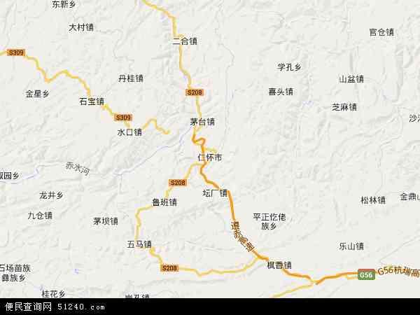 中国贵州省遵义市仁怀市地图(卫星地图)