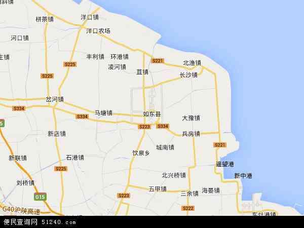 中国江苏省南通市如东县地图(卫星地图)