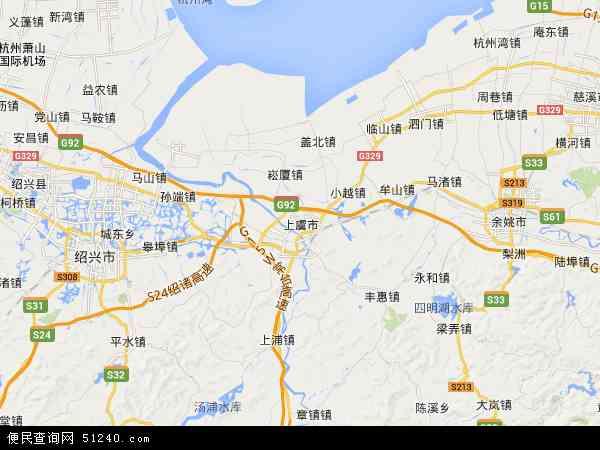 中国浙江省绍兴市上虞市地图(卫星地图)