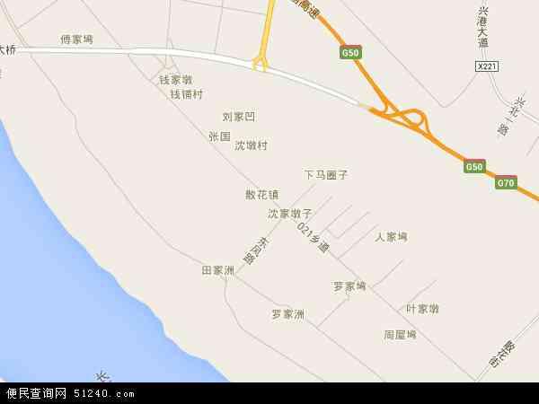 中国湖北省黄冈市浠水县散花镇地图(卫星地图)