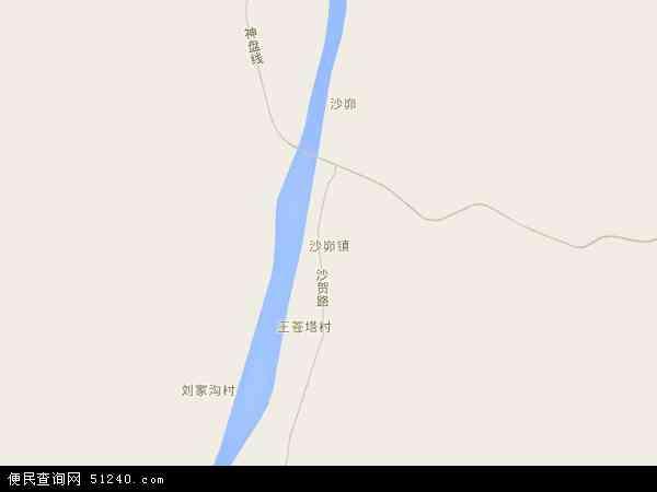 中国陕西省榆林市神木县沙峁镇地图(卫星地图)
