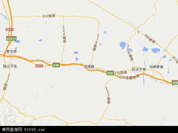 中国新疆维吾尔自治区塔城地区沙湾县地图(卫星地图)