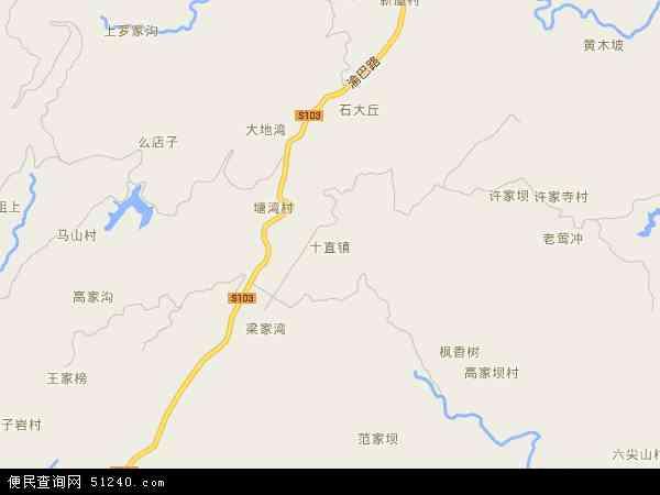 中国重庆市丰都县十直镇地图(卫星地图)