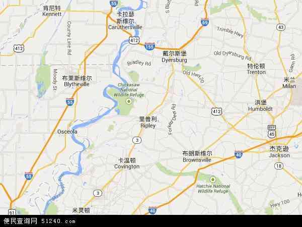 美国田纳西三城区地图(卫星地图)