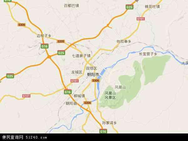中国辽宁省朝阳市双塔区地图(卫星地图)