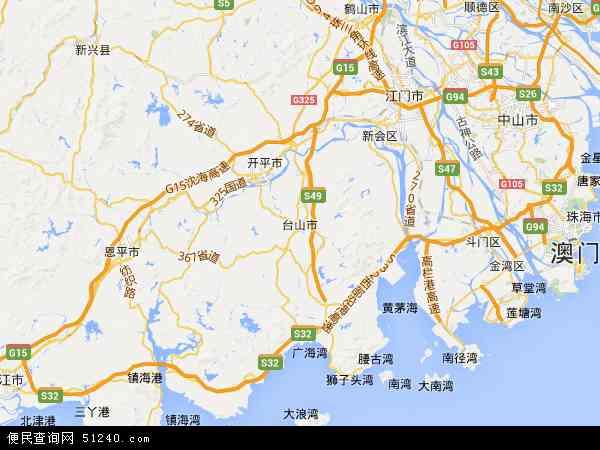 中国广东省江门市台山市地图(卫星地图)