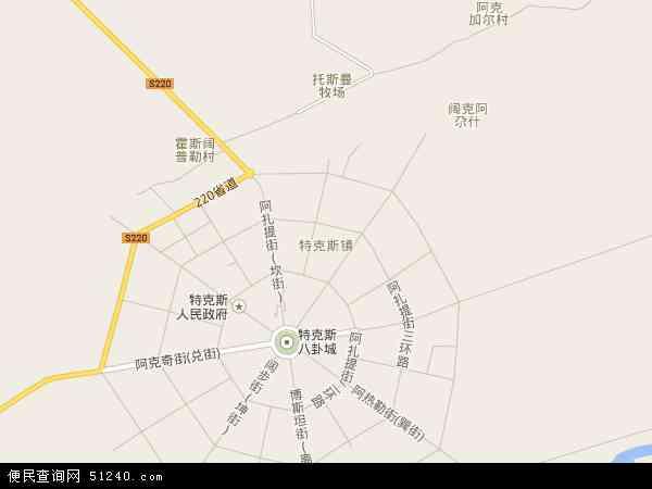 中国新疆维吾尔自治区伊犁哈萨克自治州特克斯县特克斯镇地图(卫星