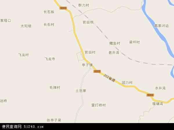 亭子镇2017年卫星地图 中国四川省达州市达川区亭子镇地图
