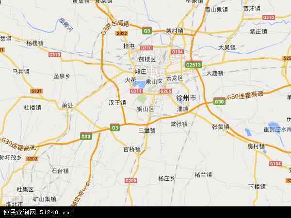 中国江苏省徐州市铜山区地图(卫星地图)