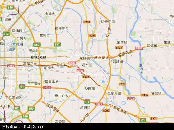 中国北京市通州区地图(卫星地图)