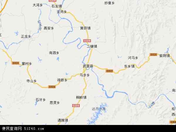 中国广西壮族自治区来宾市武宣县地图(卫星地图)