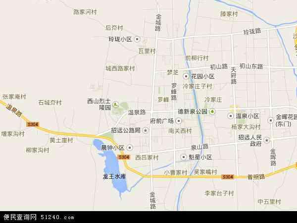 中国山东省烟台市招远市温泉地图(卫星地图)