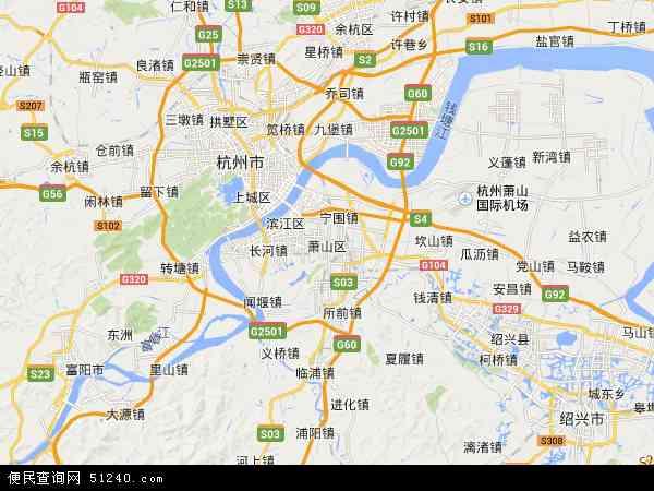 萧山区地图 - 萧山区卫星地图