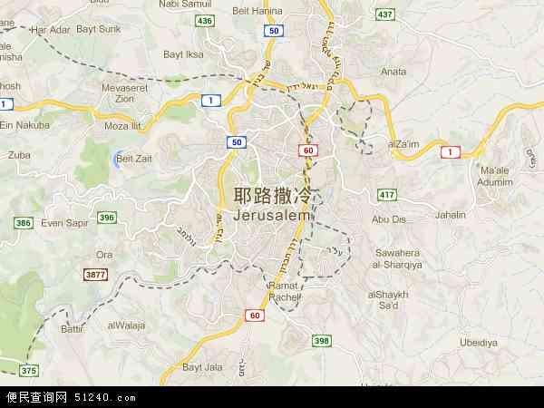 耶路撒冷地图 - 耶路撒冷卫星地图
