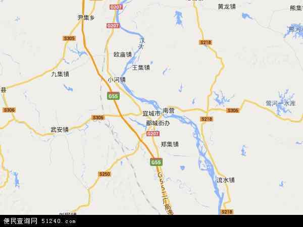 中国湖北省襄阳市宜城市地图(卫星地图)