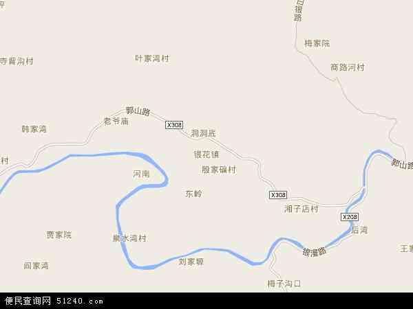 中国陕西省商洛市山阳县银花镇地图(卫星地图)
