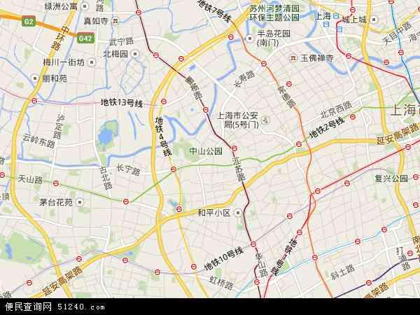 中国上海市长宁区地图(卫星地图)