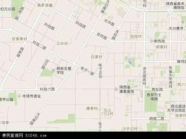 中国陕西省西安市雁塔区电子城地图(卫星地图)