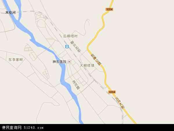 中国陕西省榆林市神木县大柳塔镇地图(卫星地图)