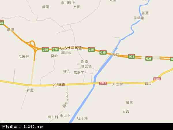 中国广东省河源市龙川县登云镇地图(卫星地图)