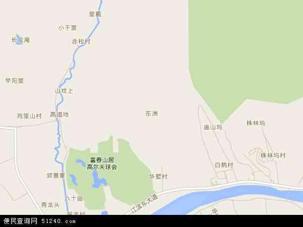 中国浙江省杭州市富阳市东洲地图(卫星地图)