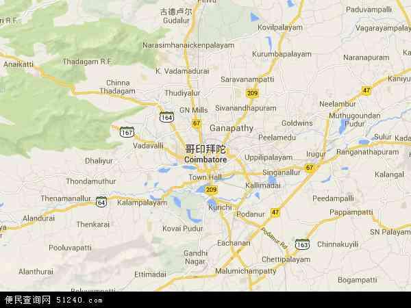 印度哥印拜陀地图(卫星地图)
