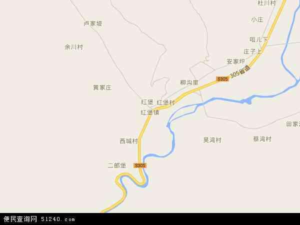 中国甘肃省天水市清水县红堡镇地图(卫星地图)