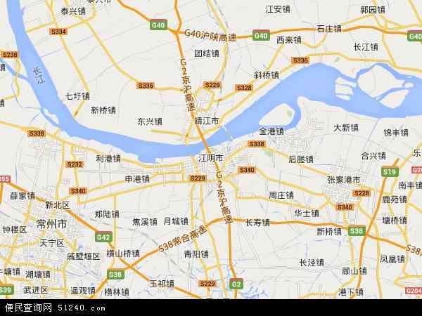 中国江苏省无锡市江阴市地图(卫星地图)