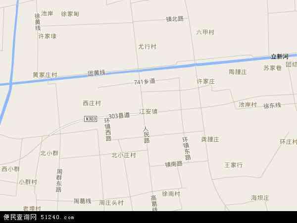 中国江苏省南通市如皋市江安镇地图(卫星地图)